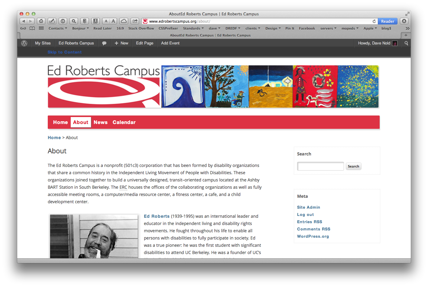 Screen shot of the web site