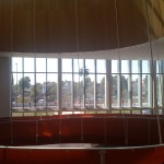 Oculus, ramp and glass facade.