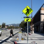Crosswalk with lighted sign