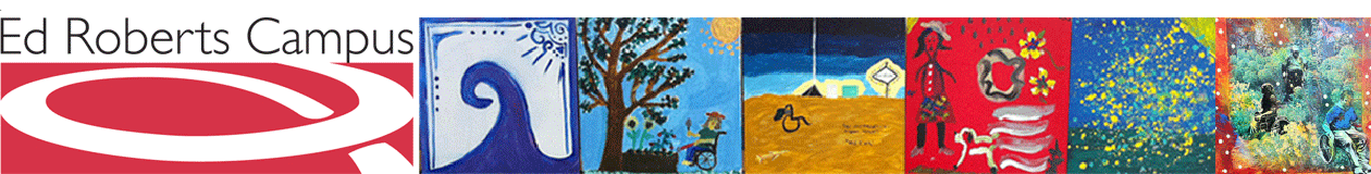 ERC logo with with sevral paintngs from the Disability Mural